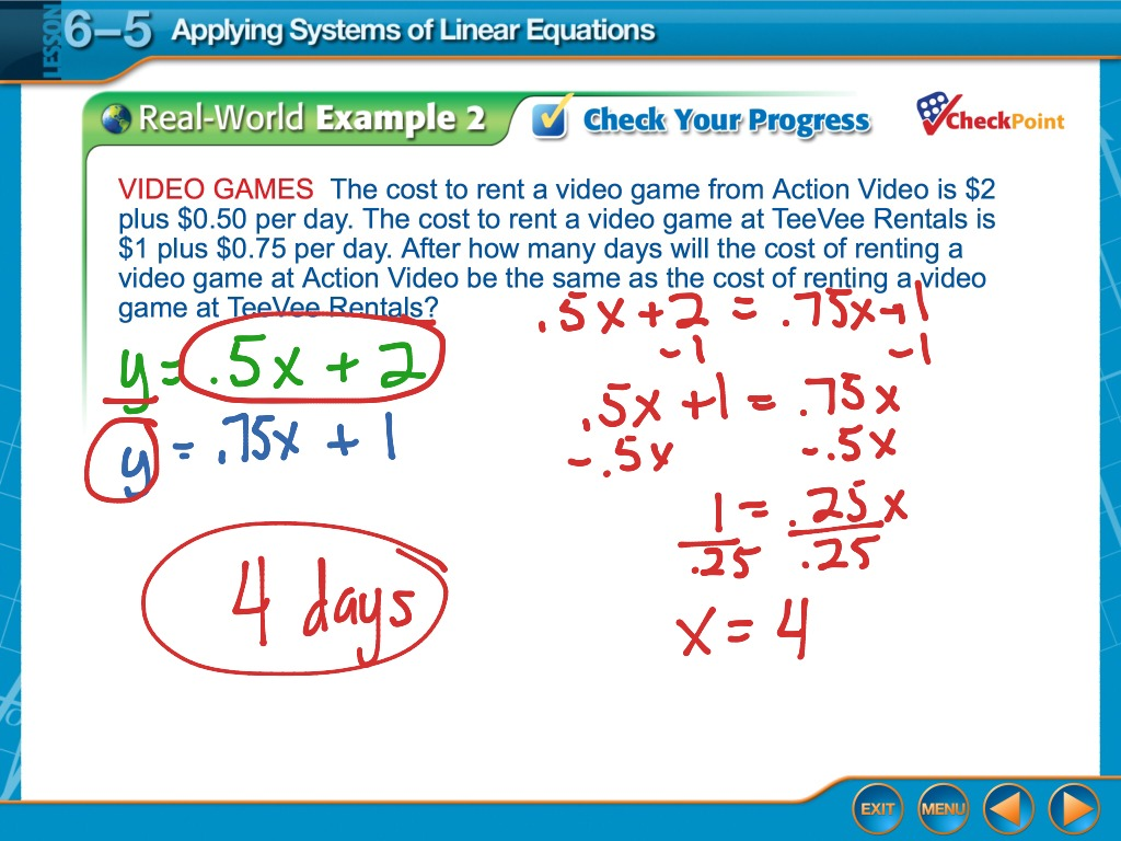 Algebra 6 5 Applying Systems Of Linear Equations