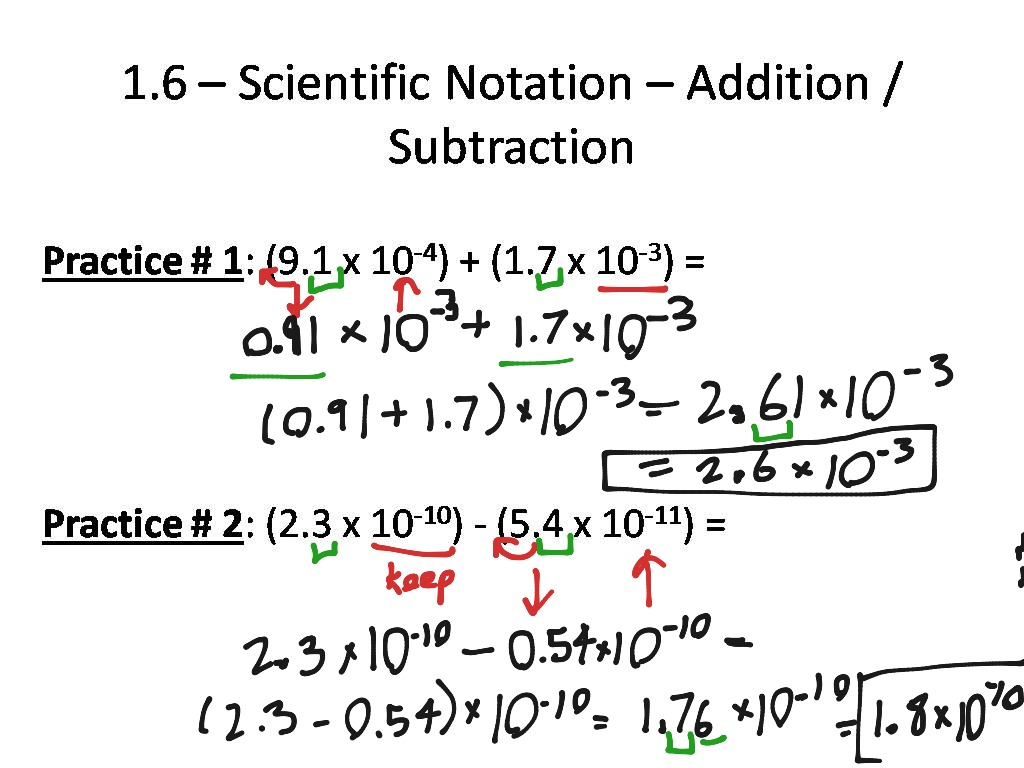 Scientific Notation Worksheet Adding And Subtraction
