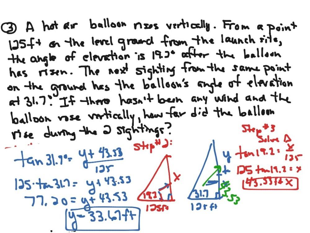 medium resolution of Algebra III Journal #47: Trig. Word Problems   Math