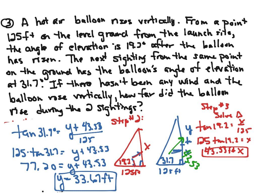 hight resolution of Algebra III Journal #47: Trig. Word Problems   Math