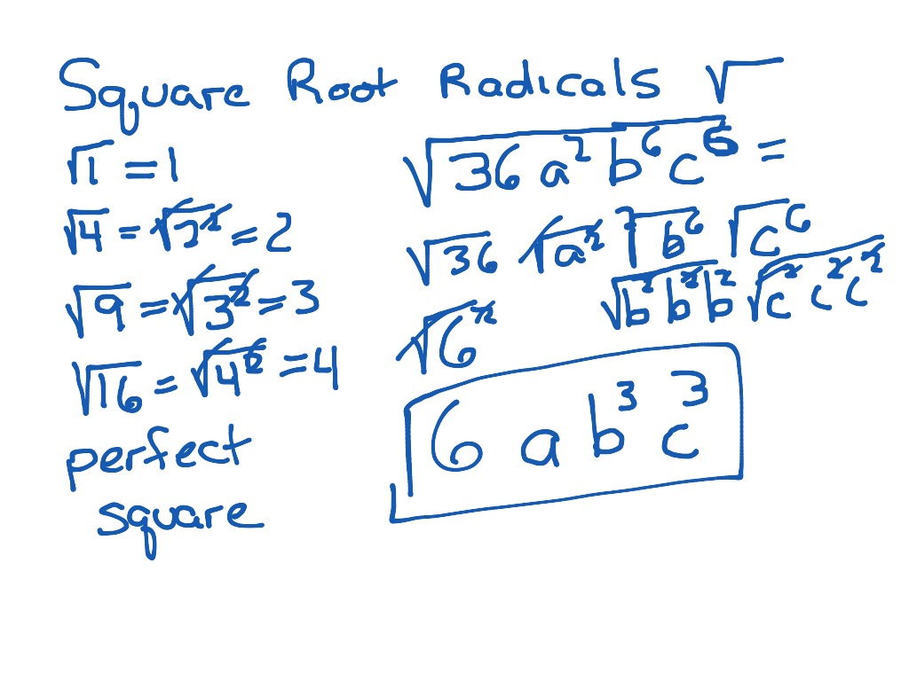 Perfect Square Root With Variables