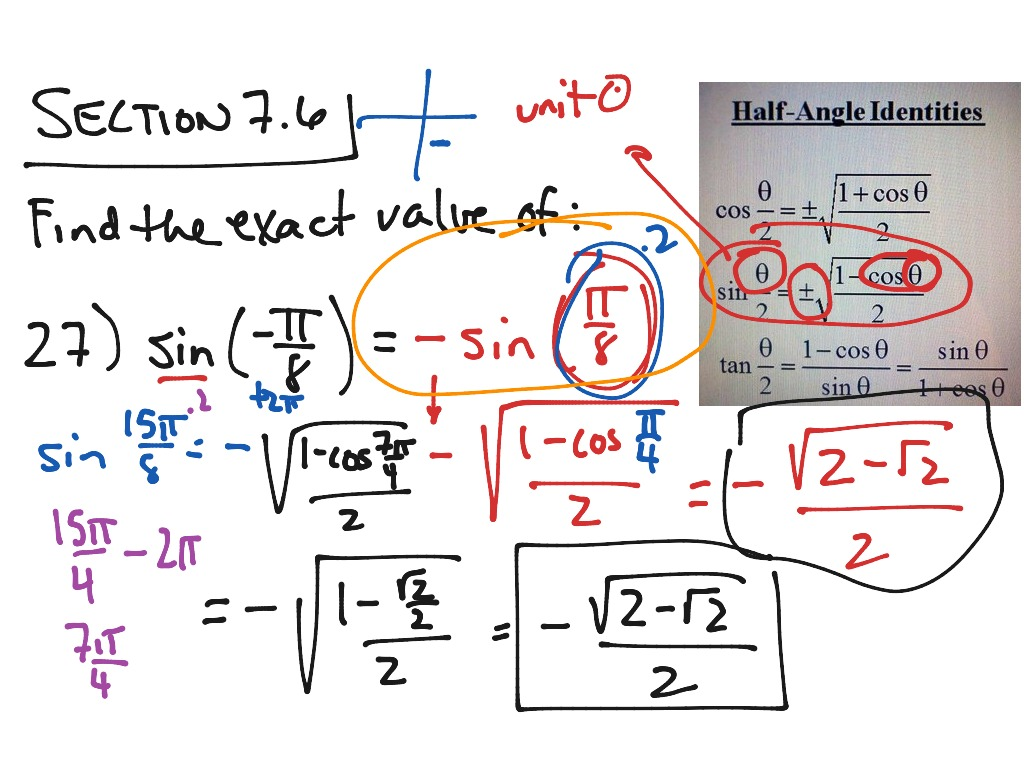 Finding Exact Values Of Trig Functions Of Angles Using The