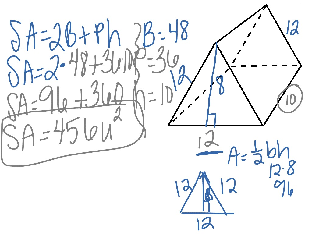 Surface Area Of Triangular Prisms