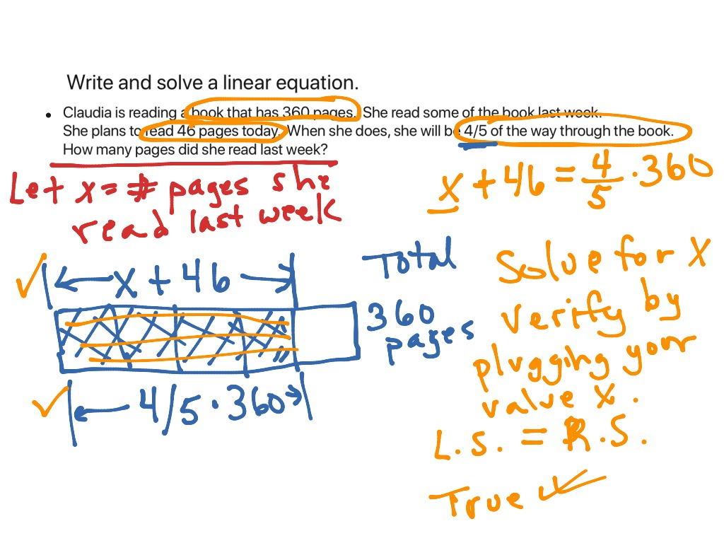 Write And Solve Linear Equation From Word Problem