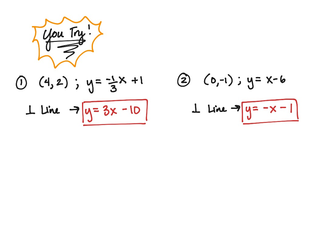 2 6 Writing Equations Of Parallel Amp Perpendicular Lines
