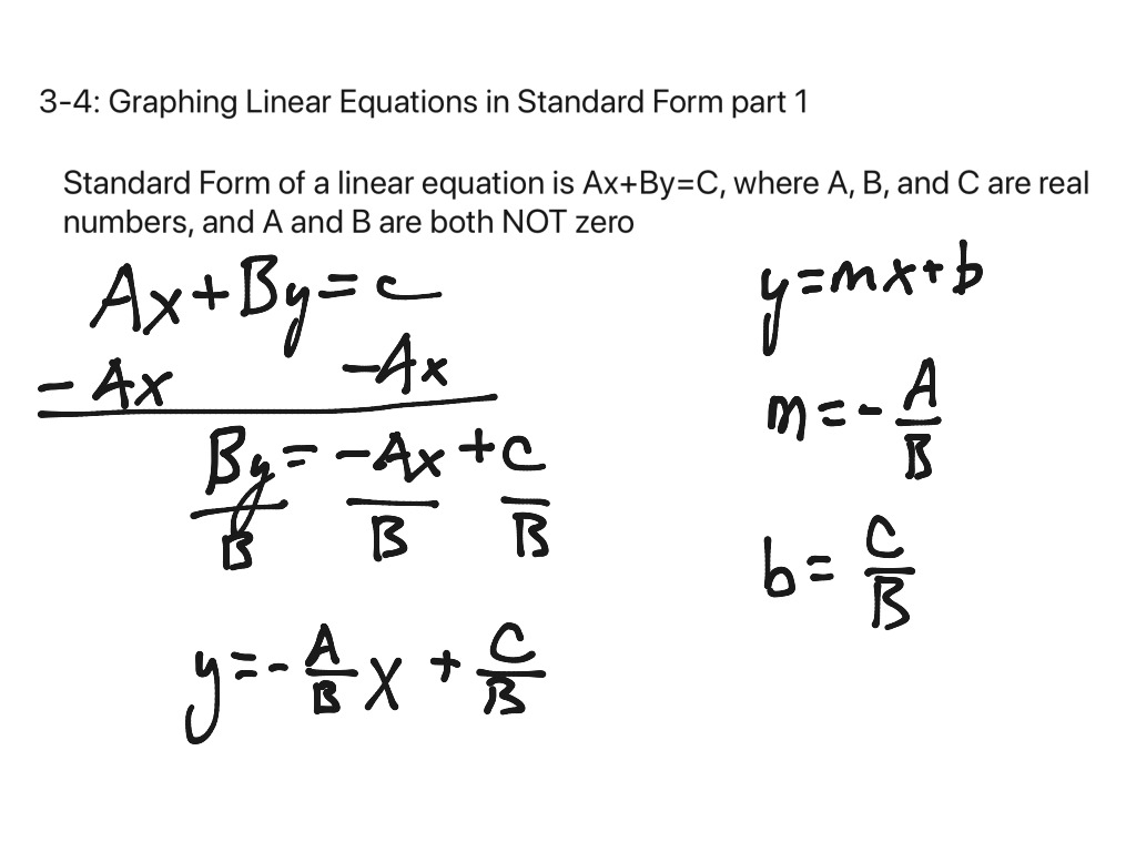 3 4 Graphing Linear Equations In Standard Form
