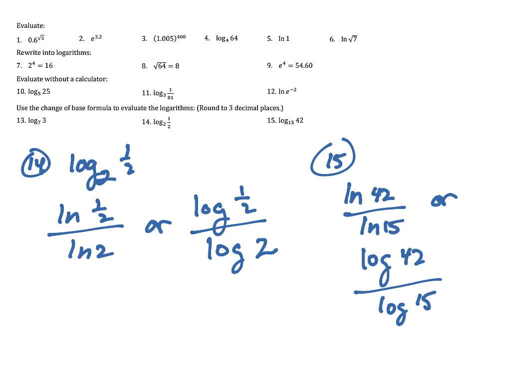 Log Practice Problems Worksheet 1 15