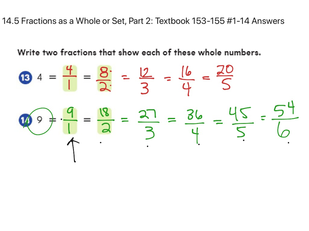 14.5 Fractions as a Whole or Set Part 2: Textbook pg,  Enter a problem Pre-Algebra Examples, 153 ...