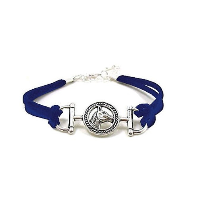 Snaffle Bit Horse Head Blue Suede Adjustable Bracelet