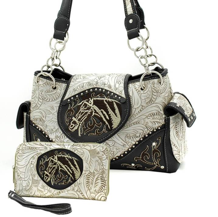 Western Embroidered Horse Head Concealed Purse Wallet Combo Set