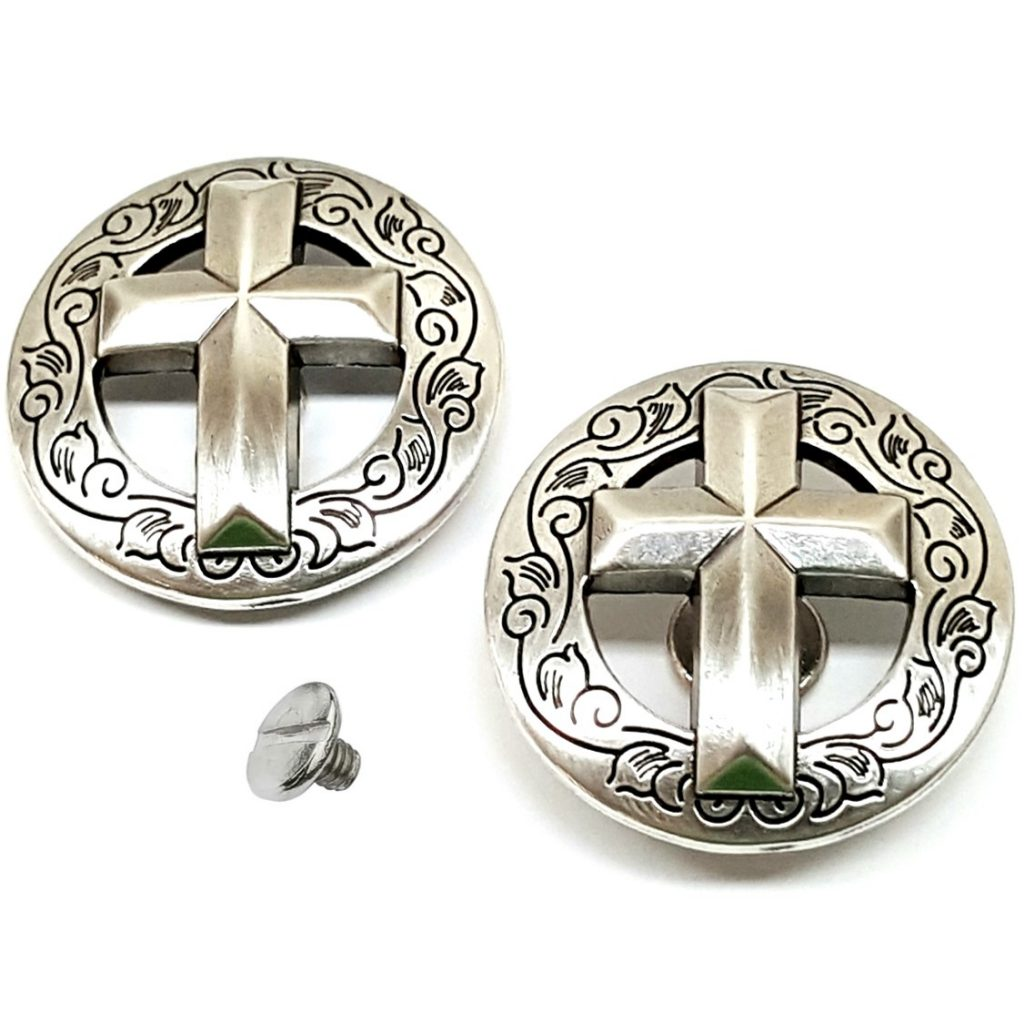 2 Pack 1 8 Western Engraved Silver Cross Concho With Chicago Screws Saddles N Such