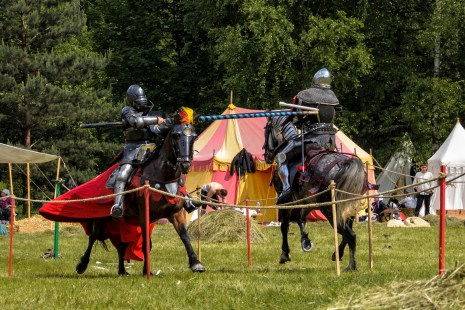 CHORZOW,POLAND - JUNE 9, 2013: Medieval knights jousting during a IV Convention of Christian Knighthood