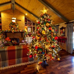 Decorate Large Living Room Black Leather Set Show Me A Country French Home Dressed For Christmas   ...