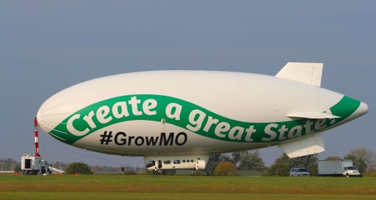 The Rex Sinquefield funded PAC Grow Missouri's moving billboard at  the University of Central Missouri's Skyhaven Airport near Warrensburg [October 2014 file photo].