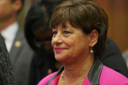 Senator Jill Schupp (D) at the House and Senate minority press conference.