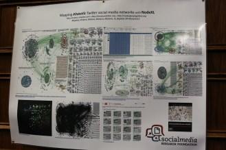 Poster on social media mapping via NodeXL. Photo by Paige Jarreau.