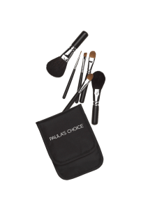 7. Mini Brush Set Each brush is approximately 4 inches from handle to brush tip Closed kit is approximately 3.75 x 4.75 inches 7 products: Mini Powder Brush, Mini Blush Brush, Mini Large Eyeshadow Brush, Mini Small Eyeshadow Brush, Mini Wedge Brow Brush, Mini Eyeliner Brush, Nylon Case