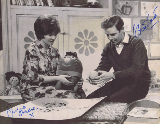 PICTURED: Julie Stevens and Brian Cant ('Play School' - 500th edition, March 1966). SUPPLIED BY: Paul R. Jackson. COPYRIGHT: BBC.