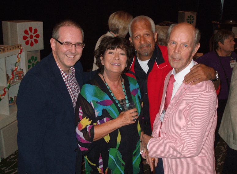 PICTURED: Paul R. Jackson; Carol Chell; Derek Griffiths; Brian Cant (50th anniversary of 'Play School' reunion, Riverside Studios, May 2014). SUPPLIED BY: Paul R. Jackson. COPYRIGHT: Paul R. Jackson.