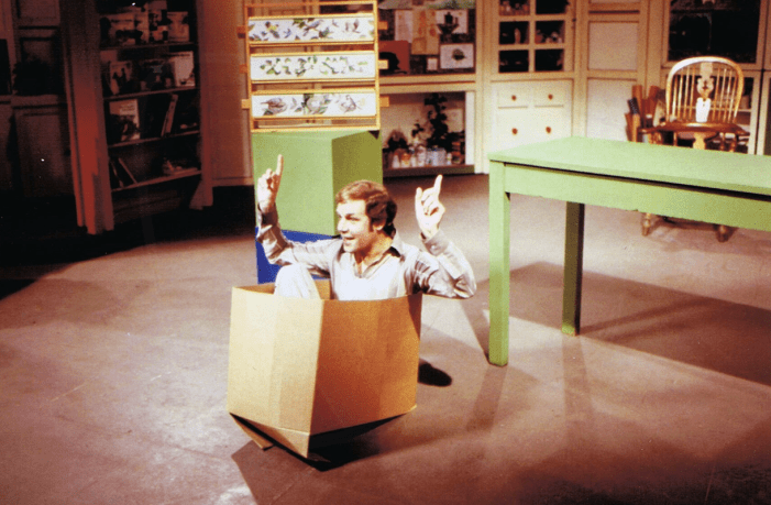 PICTURED: Brian Cant (reenacting his Play School audition - 15th anniversary, April 1979). SUPPLIED BY: Paul R. Jackson. COPYRIGHT: BBC.
