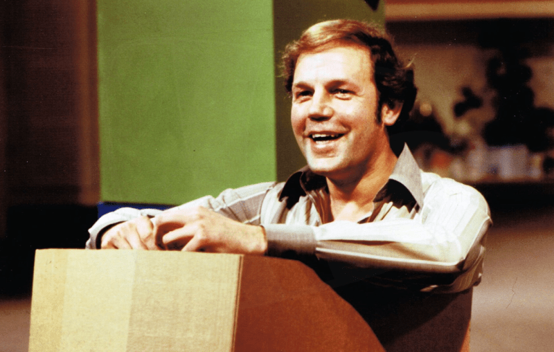 PICTURED: Brian Cant (re-enacting his Play School audition - 15th anniversary, April 1979).