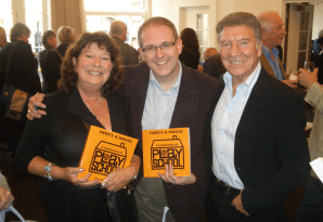 PICTURED: Play School legends Carol Chell (left) and Don Spencer (right) with author Paul R. Jackson (middle) (BAFTA book launch (2010)). SUPPLIED BY: Paul R. Jackson. COPYRIGHT: Paul R. Jackson.