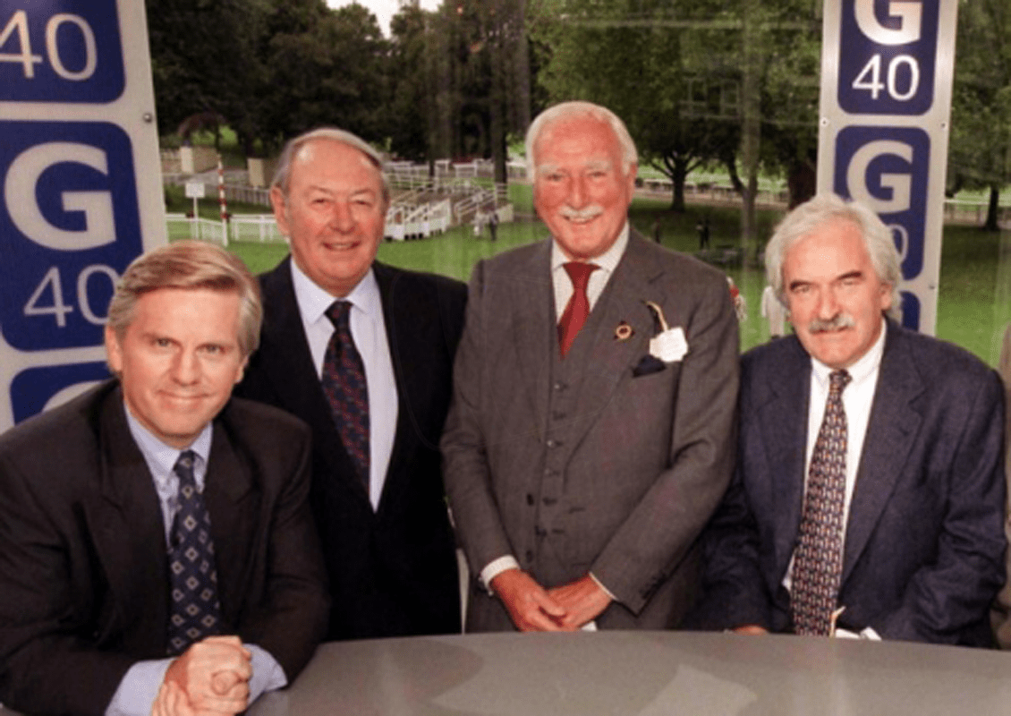 PICTURED: Steve Rider; David Coleman; Peter Dimmock; Des Lynam (Grandstand 40th anniversary). SUPPLIED BY: Online. COPYRIGHT: BBC.