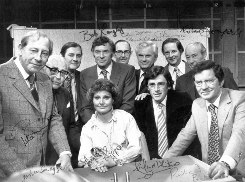 Peter Woods, John Snagge, Corbet Woodall, Bob Langley, Angela Rippon, Colin Doran, Kenneth Kendall, Richard Whitmore, John Timpson, Robert Dougall and Richard Baker
