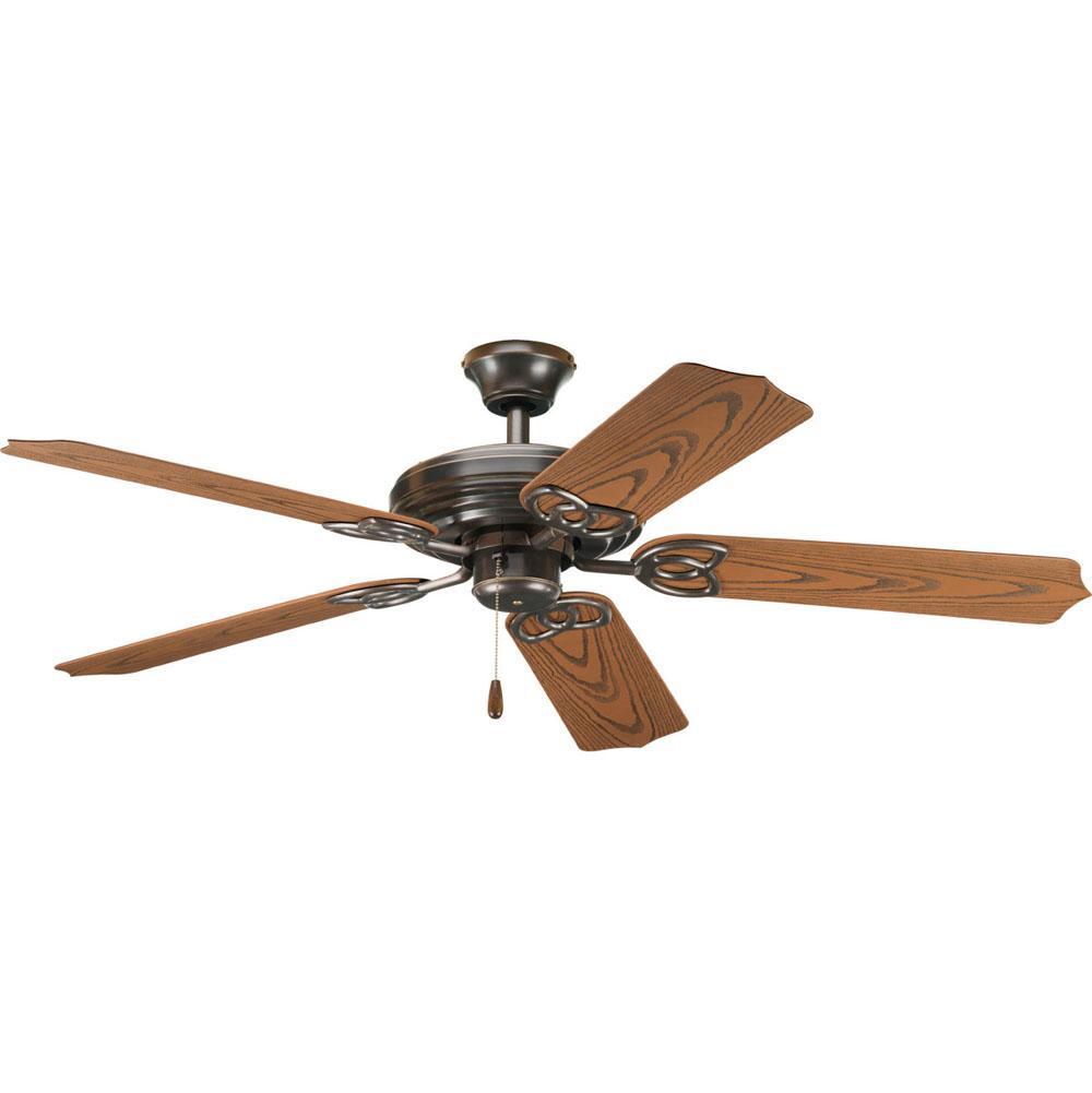 progress lighting p2502 20 airpro 52 5 blade indoor outdoor ceiling fan [ 1000 x 1001 Pixel ]