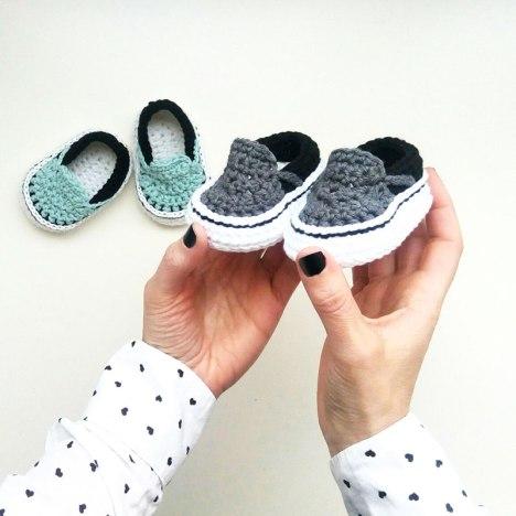 Vans style crochet slippers for toddler