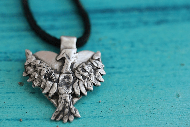 Silver Phoenix Heart on Black Leather Cord