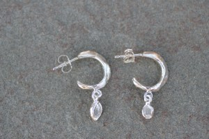 whisper hoops with herkimer diamonds (silver)