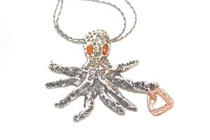 Octopus jewelry made from recycled sterling silver plated brass or oxidized brass