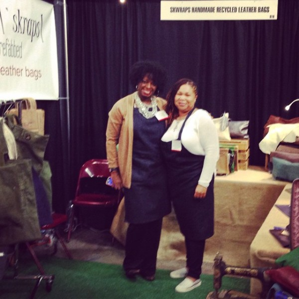 @skwraps looking good at the #sfigf loving upcycled bags! U rock! #showthelovejewelry #shebelievedshecould