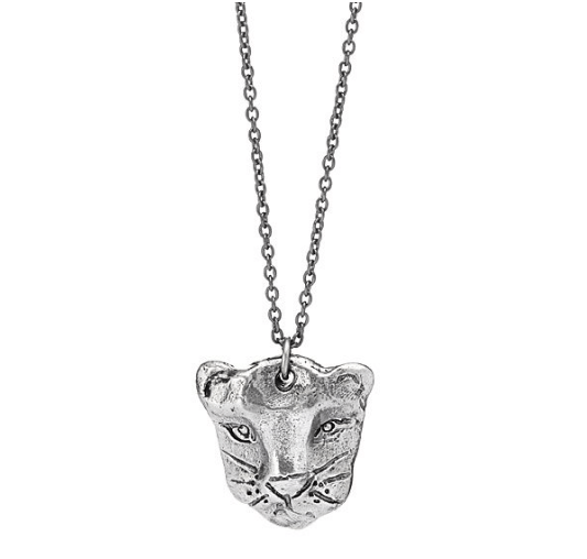 silver black panther necklace