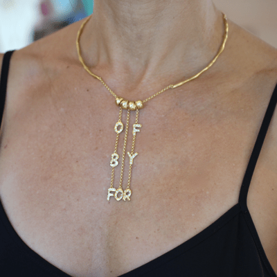 OfByFor Dangle Necklace on Neck