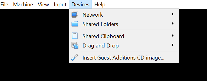 Install VirtualBox Guest Additions Menu