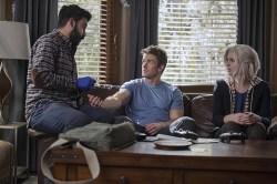"""iZombie -- """"Method Head"""" -- Image Number: ZMB210a_0302.jpg -- Pictured (L-R): Rahul Kohli as Ravi, Robert Buckley as Major and Rose McIver as Liv -- Photo: Cate Cameron/The CW -- © 2015 The CW Network, LLC. All rights reserved."""