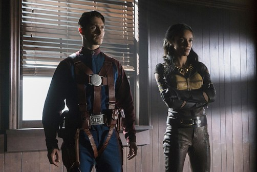 "DC's Legends of Tomorrow --""The Justice Society of America""-- Image LGN202b_0061.jpg -- Pictured (L-R): Matthew MacCaull as Commander Steel and Maisie Richardson- Sellers as Amaya Jiwe/Vixen -- Photo: Katie Yu/The CW -- © 2016 The CW Network, LLC. All Rights Reserved."
