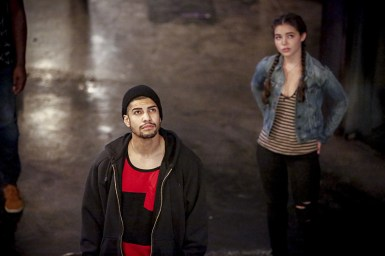 """Arrow -- """"The Recruits"""" -- Image AR502a_0016b.jpg --- Pictured (L-R): Rick Gonzales as Rene Ramirez/Wild Dog and Madison McLaughlin as Evelyn Sharp -- Photo: Bettina Strauss/The CW -- © 2016 The CW Network, LLC. All Rights Reserved."""