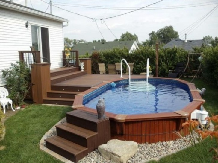 impressive above ground pools deck backyard designs