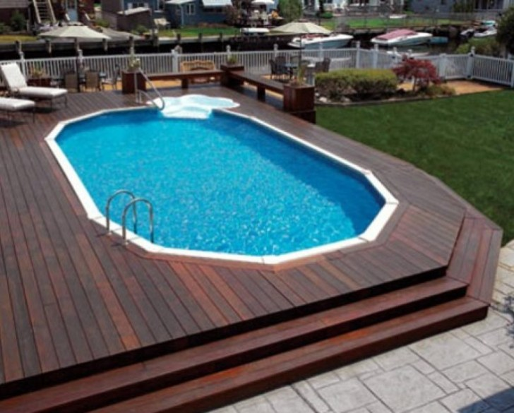 Large above ground pool deck with cascading steps