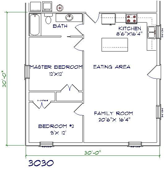 Barndominium cost 2 bedroom, 1 bathroom, 30x30