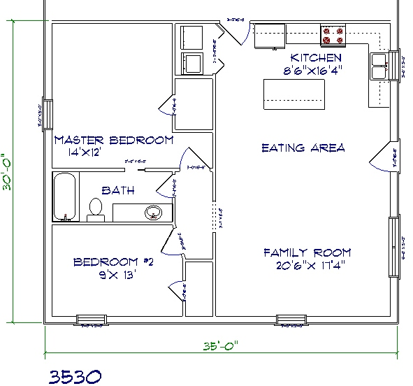 barndominium cost 2 bedroom 1 bathroom 35x30