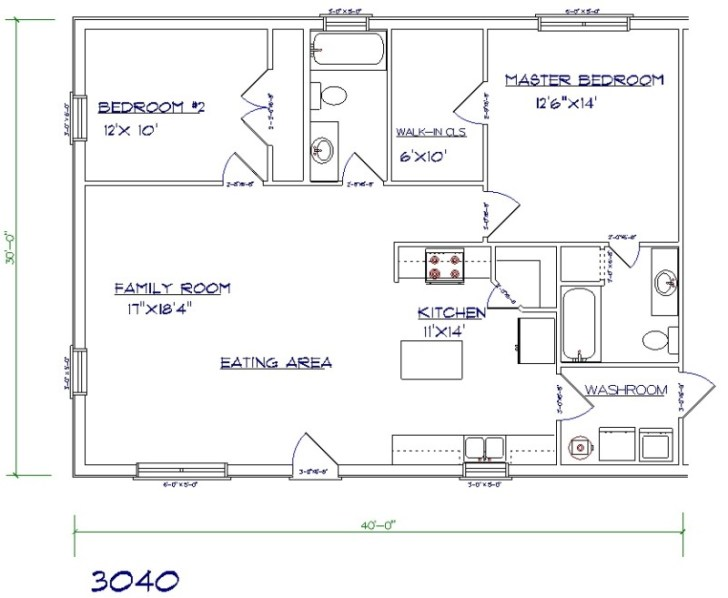 Barndominium cost 2 bedroom, 2 bathroom, 30x40