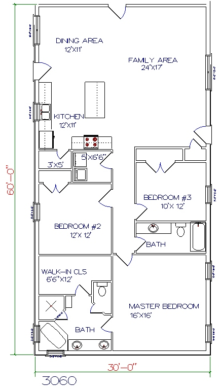 barndominium cost 3 bedroom 2 bathroom 30x60