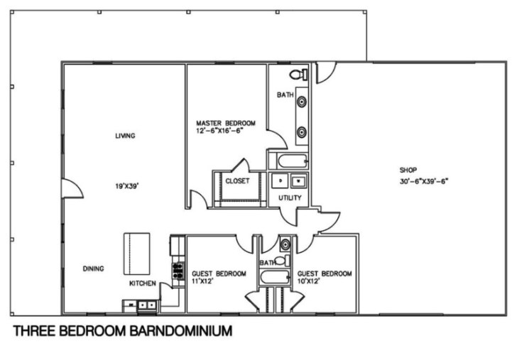 Barndominium floor plans with shop 3 bedroom design ideas