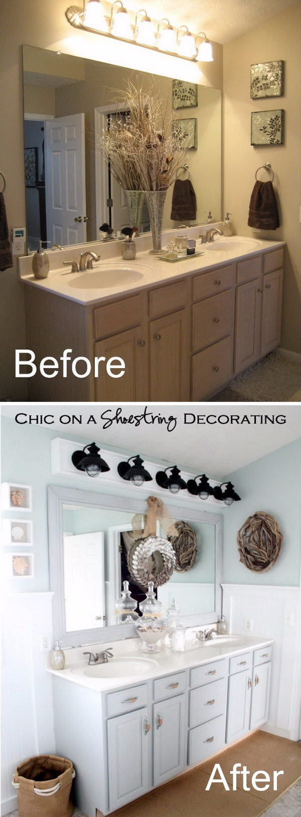 Beachy Small Bathroom Makeover Before After