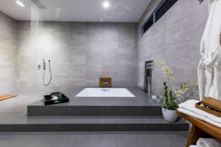 Gray Color Spa Bathroom Design