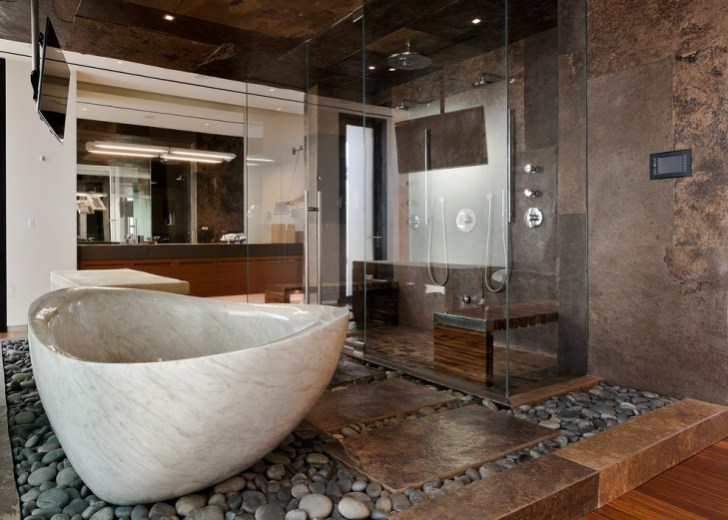Pebble Floor Bathroom Design
